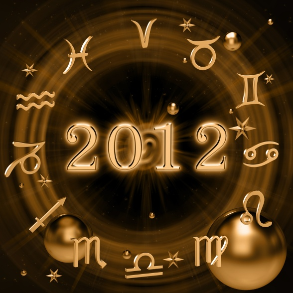 Zodiac signs on the background of digits 2012